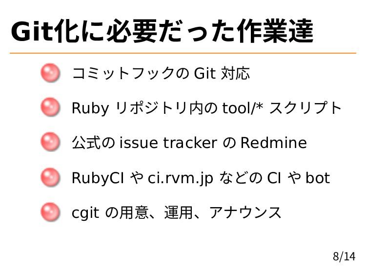 Git化に必要だった作業達 コミットフックの Git 対応 Ruby リポジトリ内の tool...