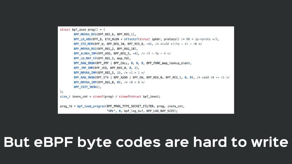 But eBPF byte codes are hard to write