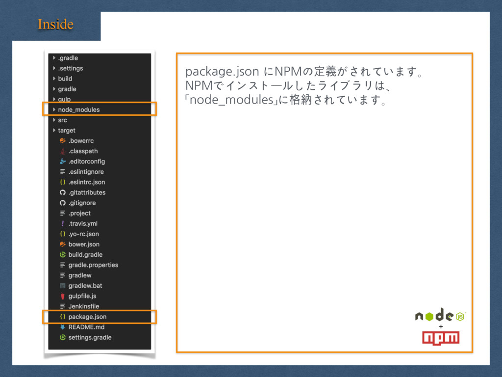 Inside package.json にNPMの定義がされています。 NPMでインストールし...