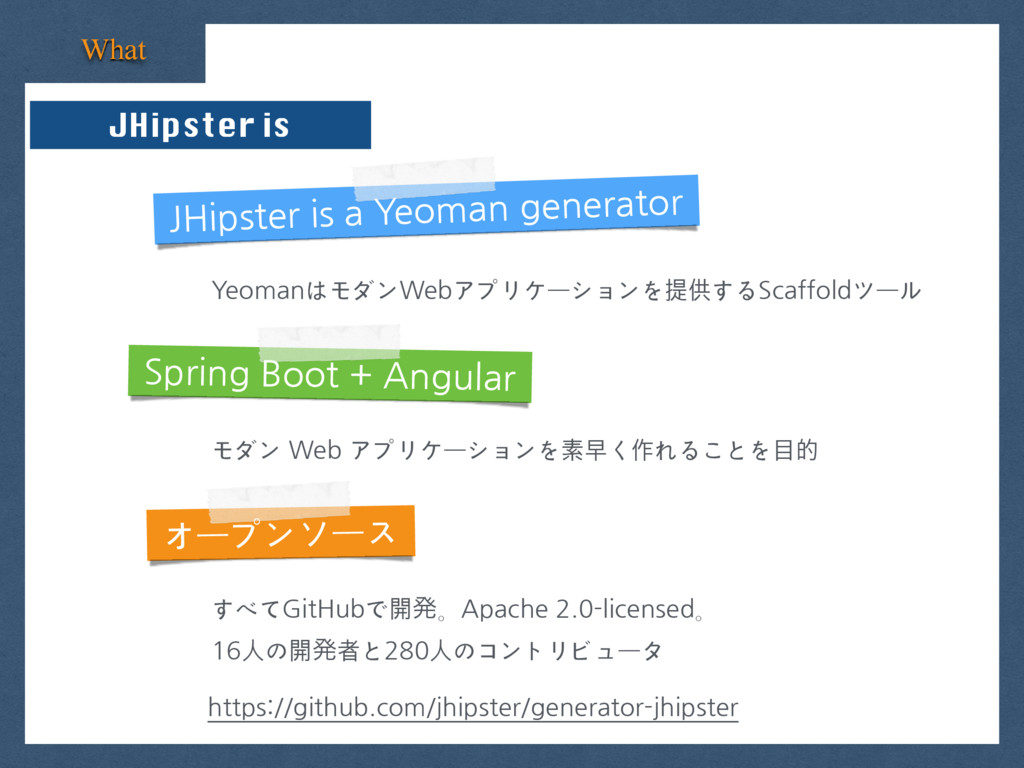 What JHipster is JHipster is a Yeoman generator...