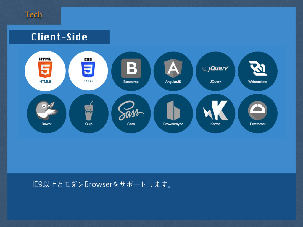 Client-Side Tech IE9以上とモダンBrowserをサポートします。