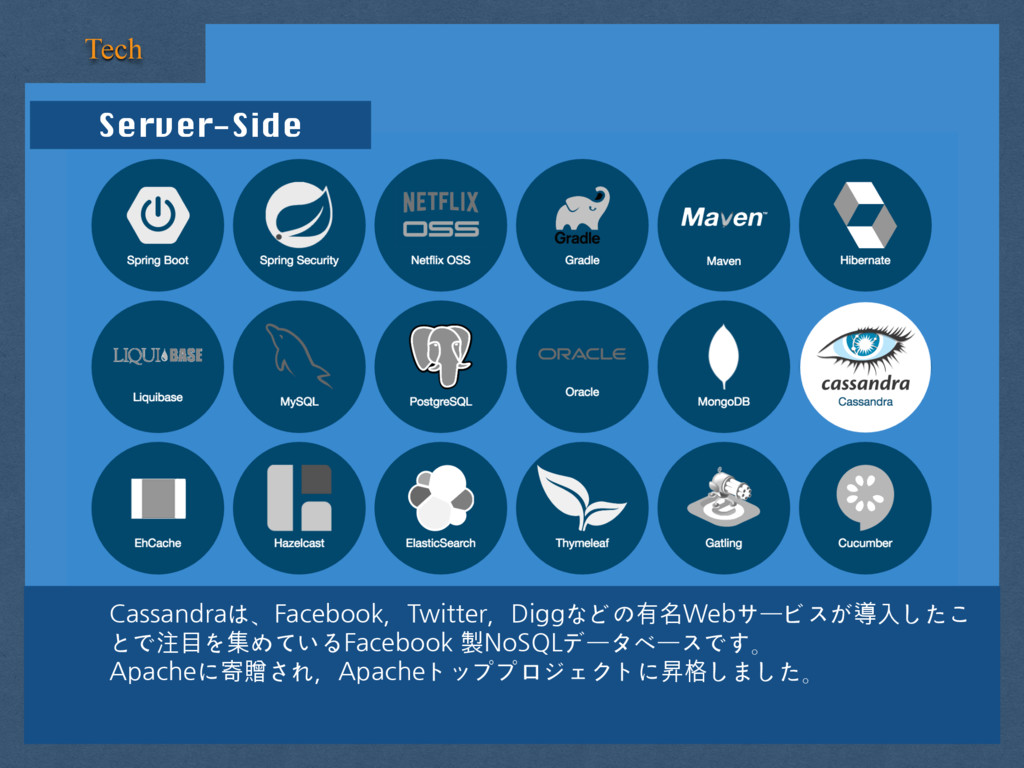 Server-Side Tech Cassandraは、Facebook,Twitter,Di...