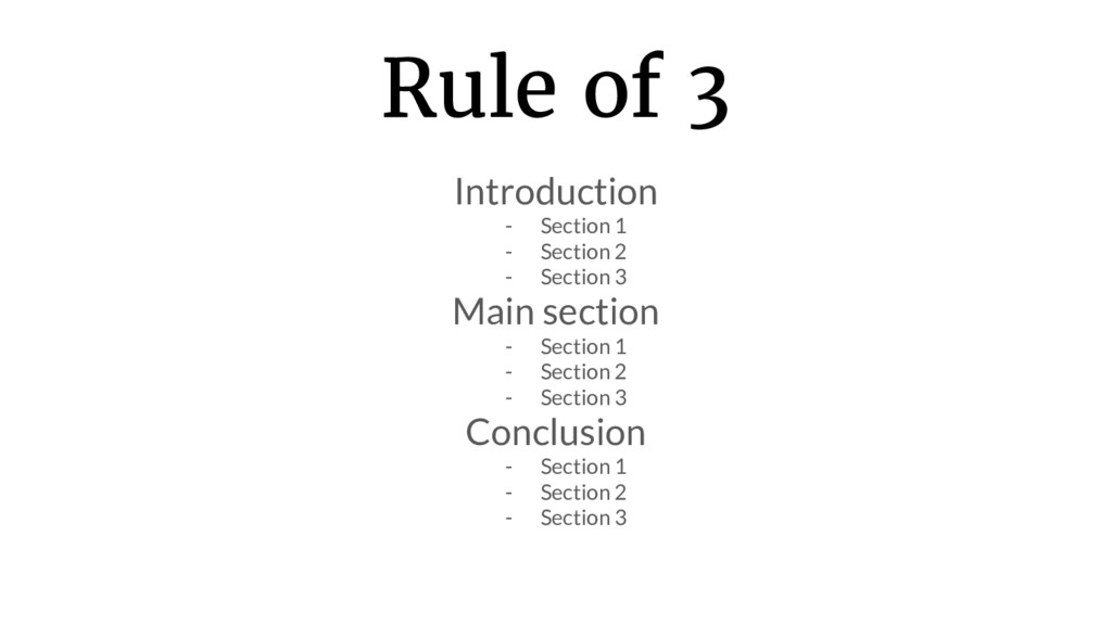 Rule of 3 Introduction - Section 1 - Section 2 ...