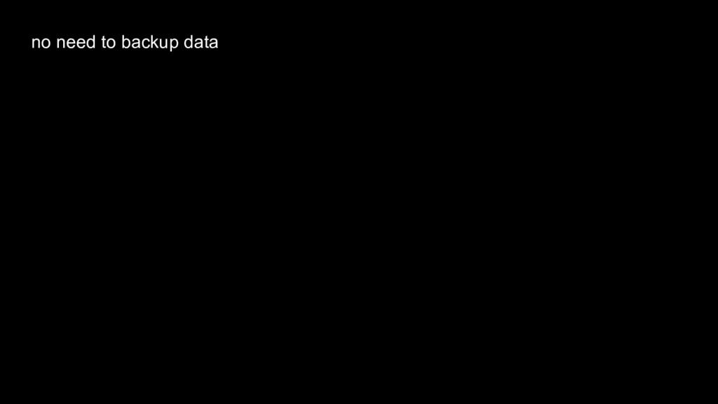 no need to backup data