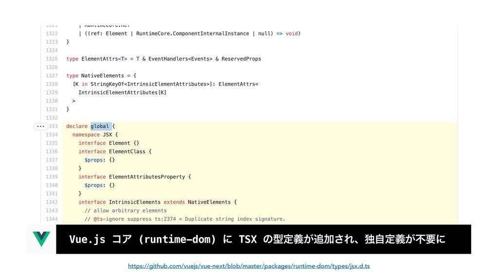 Vue.js ίΞ (runtime-dom) ʹ TSX ͷܕఆ͕ٛՃ͞Εɺಠࣗఆ͕ٛෆཁ...