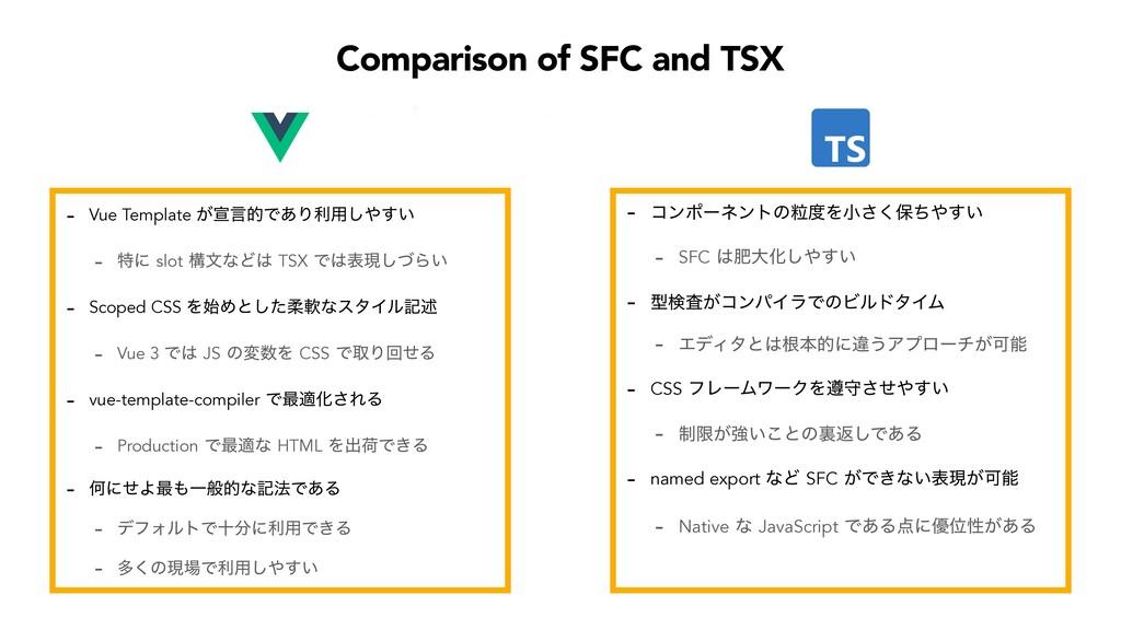 Comparison of SFC and TSX  Vue Template ͕એݴతͰ͋...