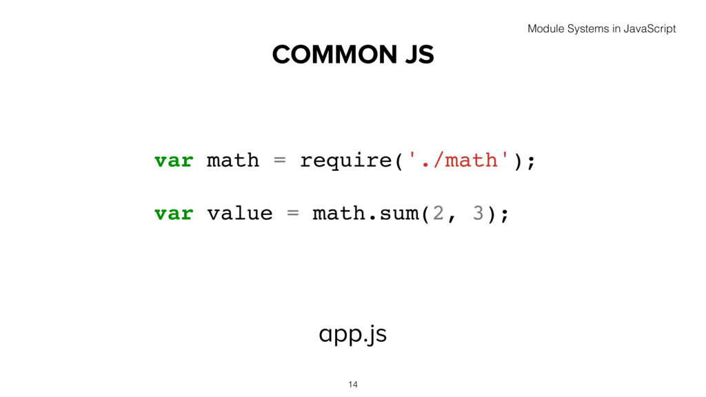 COMMON JS app.js 14 var math = require('./math'...
