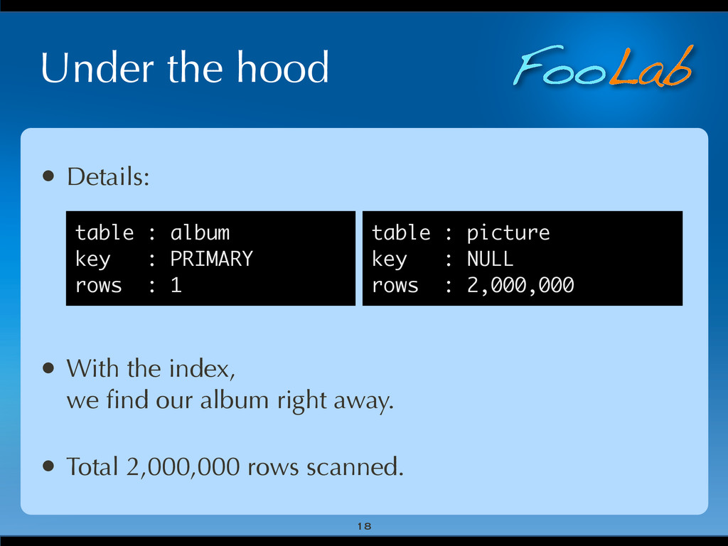 FooLab Under the hood 18 • Details: • With the ...