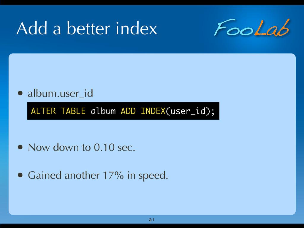 FooLab Add a better index 21 • album.user_id • ...