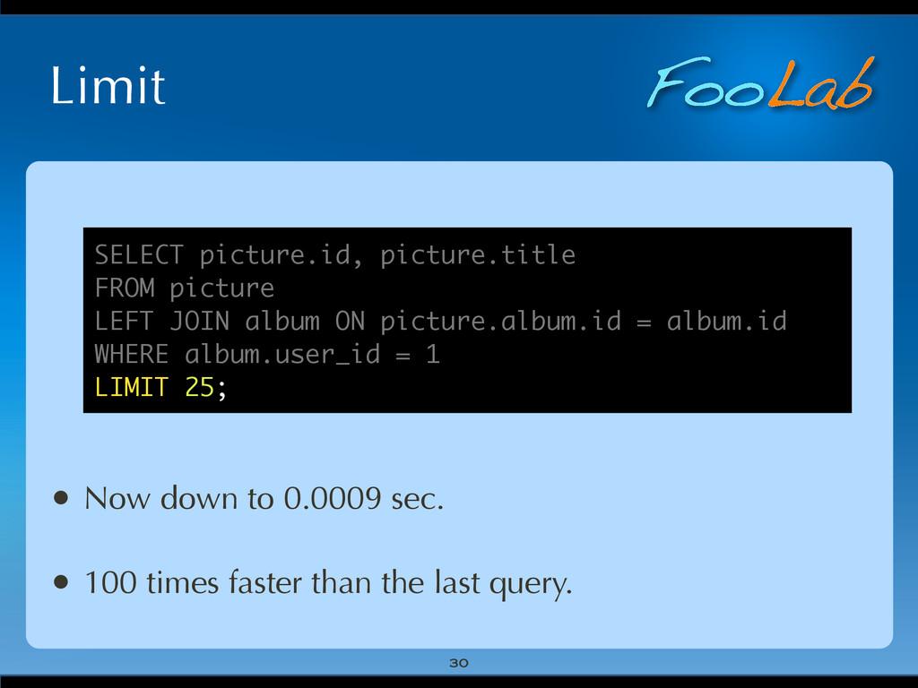 FooLab Limit 30 • Now down to 0.0009 sec. • 100...