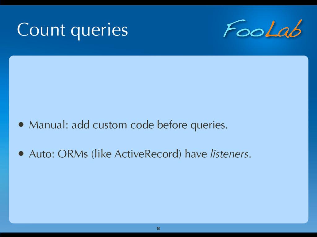 FooLab Count queries • Manual: add custom code ...