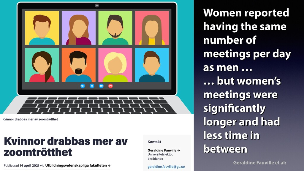 Women reported having the same number of meetin...