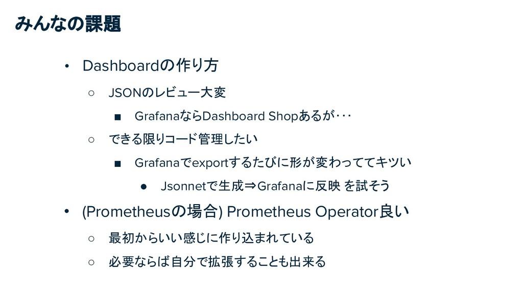 みんなの課題 • Dashboardの作り方 ○ JSONのレビュー大変 ■ Grafanaな...