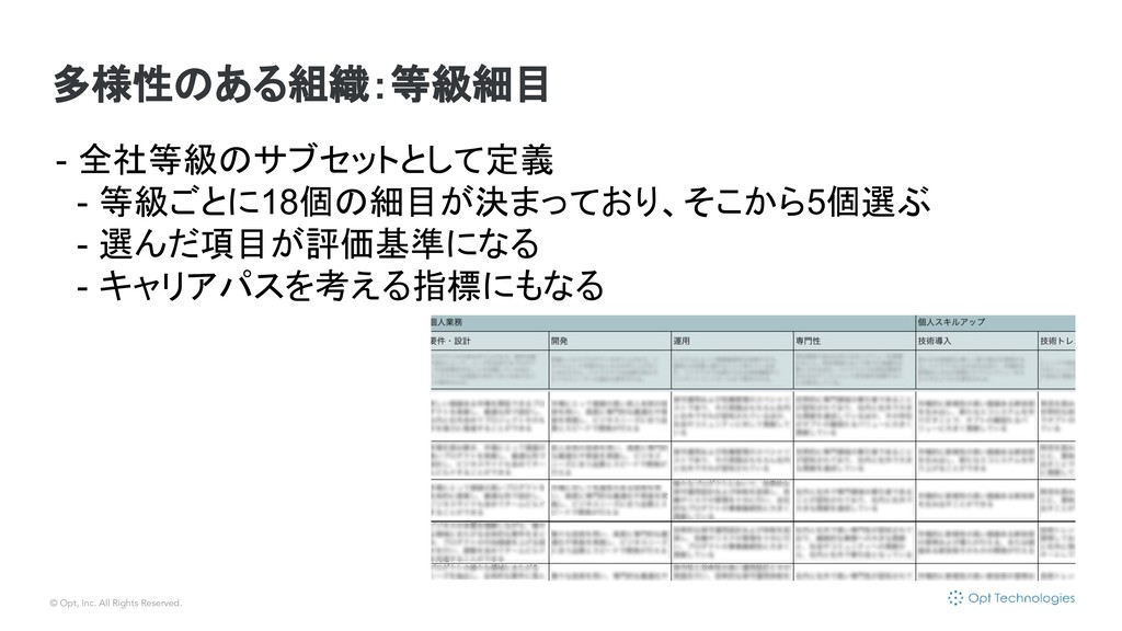 © Opt, Inc. All Rights Reserved. 多様性のある組織:等級細目 ...