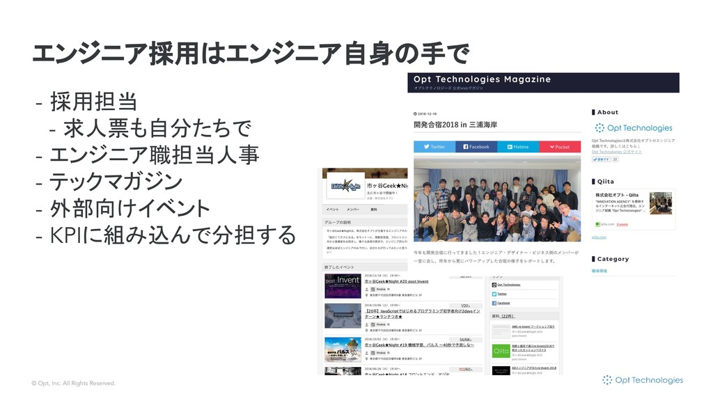 © Opt, Inc. All Rights Reserved. エンジニア採用はエンジニア自...