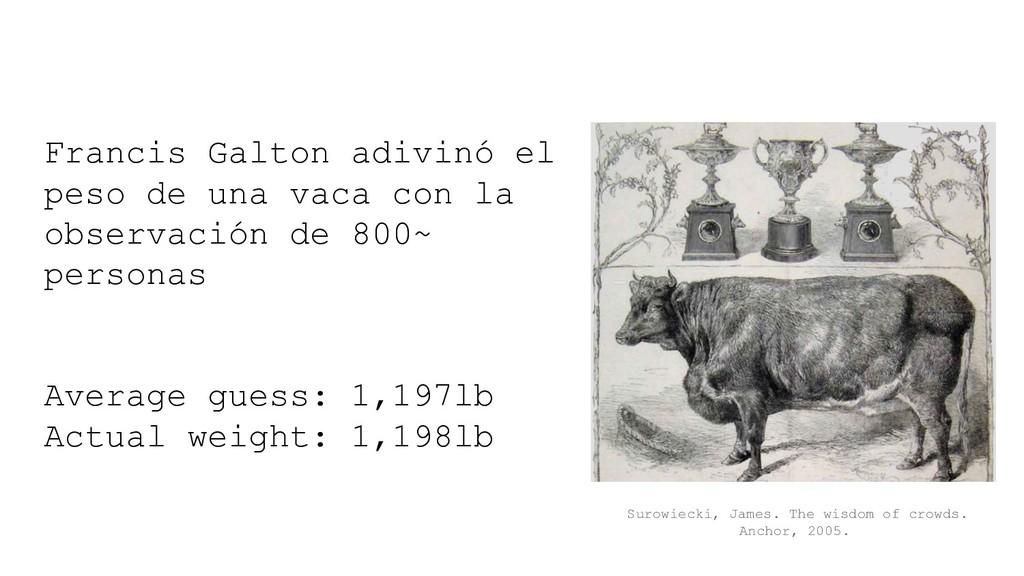 Francis Galton adivinó el peso de una vaca con ...