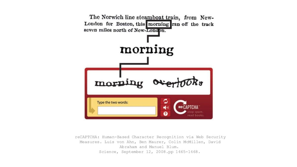 reCAPTCHA: Human-Based Character Recognition vi...