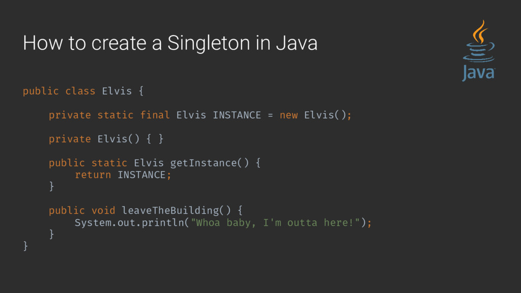 How to create a Singleton in Java public class ...
