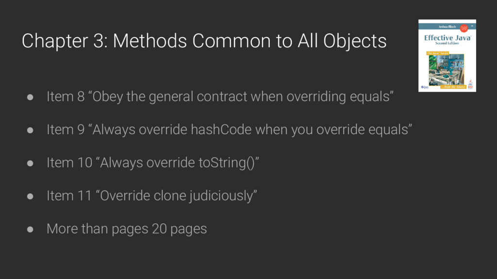Chapter 3: Methods Common to All Objects ● Item...