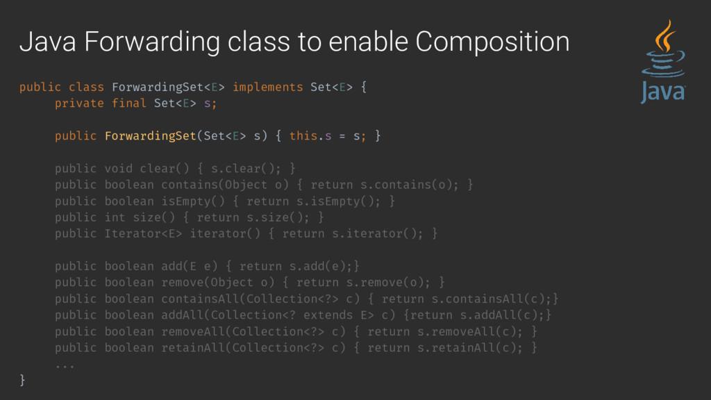 public class ForwardingSet<E> implements Set<E>...