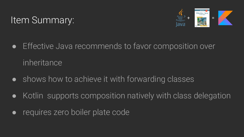 Item Summary: ● Effective Java recommends to fa...
