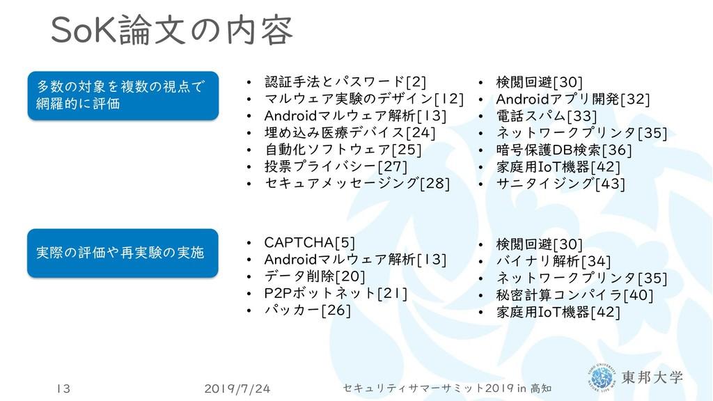 SoK論文の内容 2019/7/24 セキュリティサマーサミット2019 in 高知 13 多...