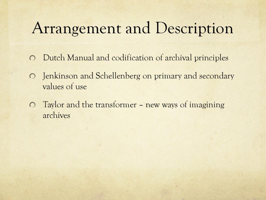 Arrangement and Description Dutch Manual and co...