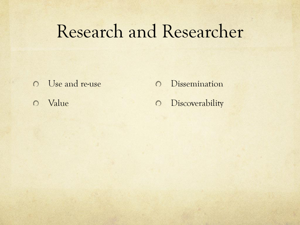 Research and Researcher Use and re-use Value Di...