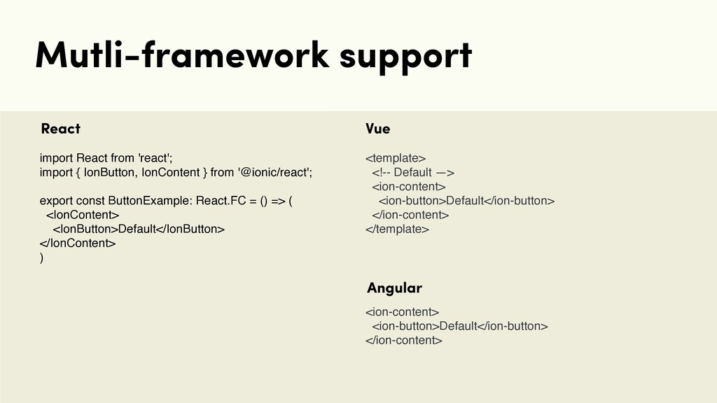 Mutli-framework support import React from 'reac...