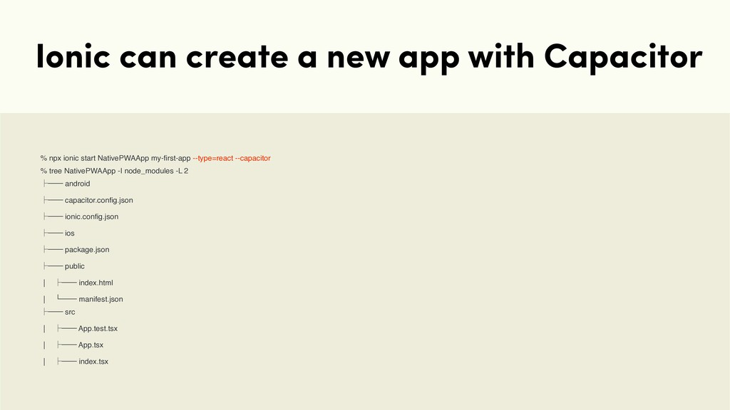 Ionic can create a new app with Capacitor % npx...