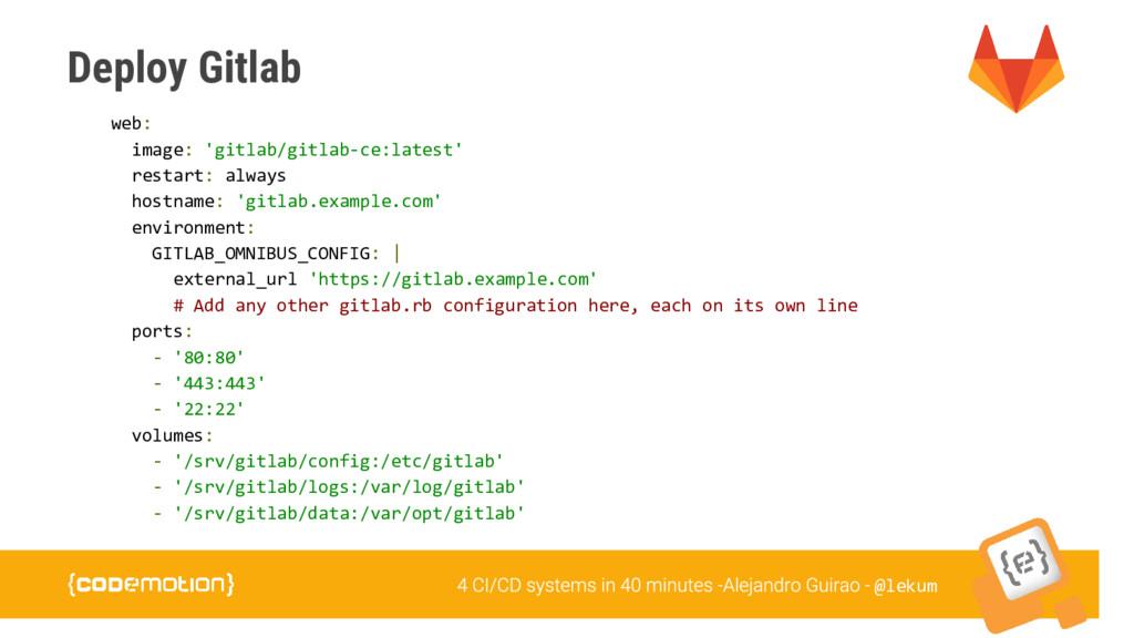 @lekum Deploy Gitlab web: image: 'gitlab/gitlab...