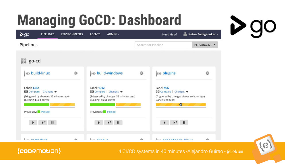 @lekum Managing GoCD: Dashboard
