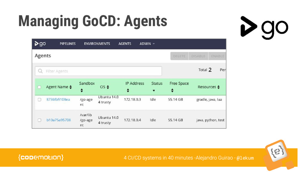 @lekum Managing GoCD: Agents