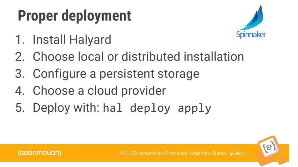 @lekum Proper deployment 1. Install Halyard 2. ...