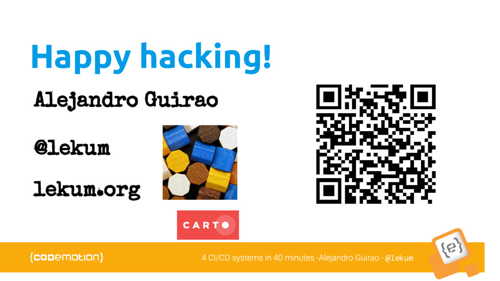 @lekum Happy hacking! Alejandro Guirao @lekum l...