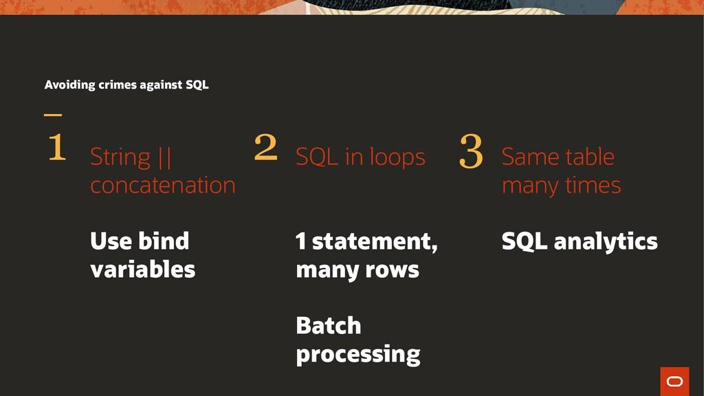 Avoiding crimes against SQL String    concatena...