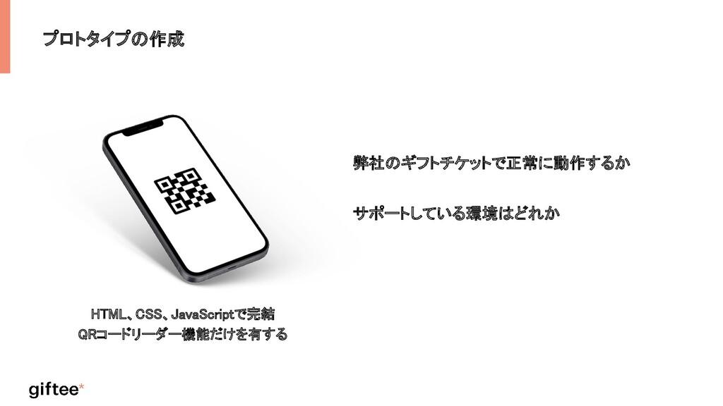 プロトタイプの作成 HTML、CSS、JavaScriptで完結  QRコードリーダー機能だ...
