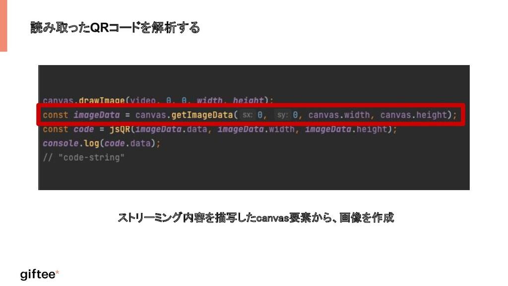 読み取ったQRコードを解析する ストリーミング内容を描写したcanvas要素から、画像を作成