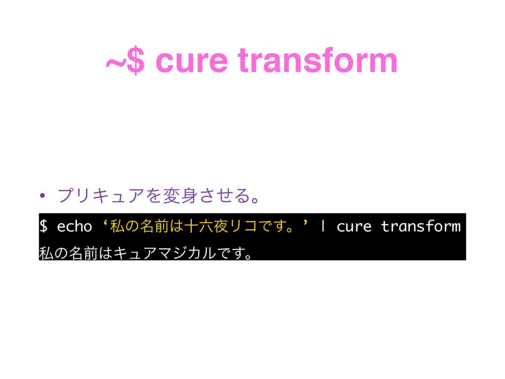 ~$ cure transform • ϓϦΩϡΞΛมͤ͞Δɻ $ echo 'ࢲͷ໊લे...