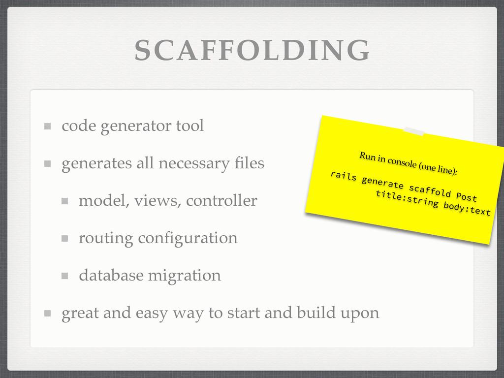 SCAFFOLDING code generator tool generates all n...