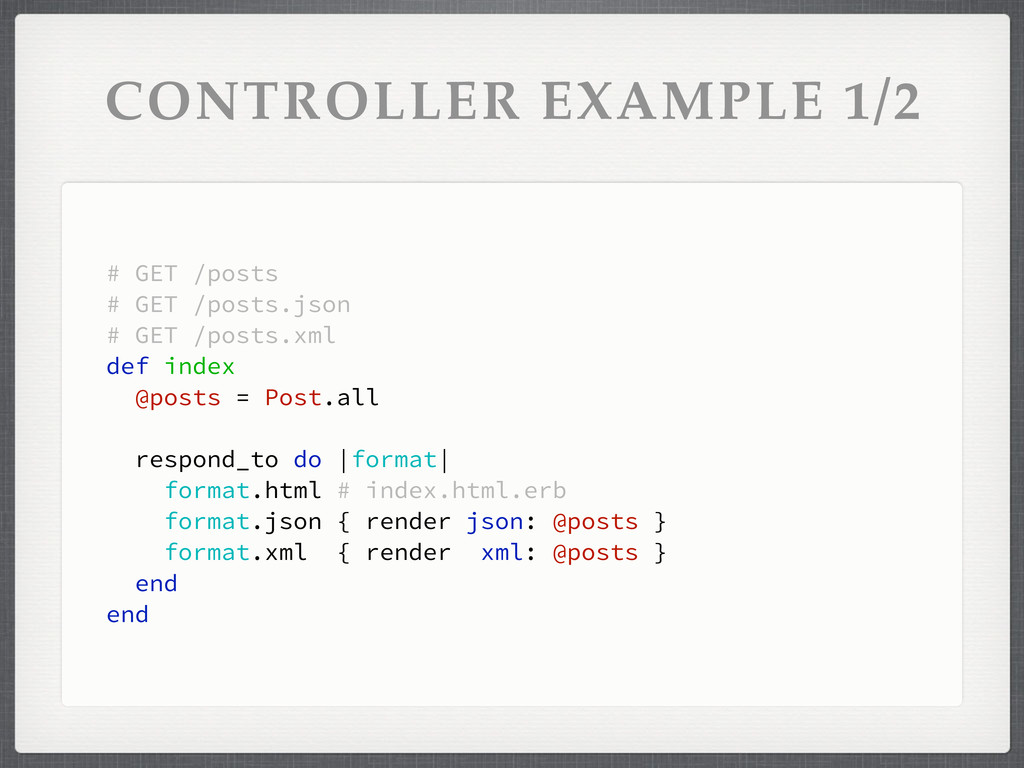 CONTROLLER EXAMPLE 1/2 # GET /posts # GET /post...