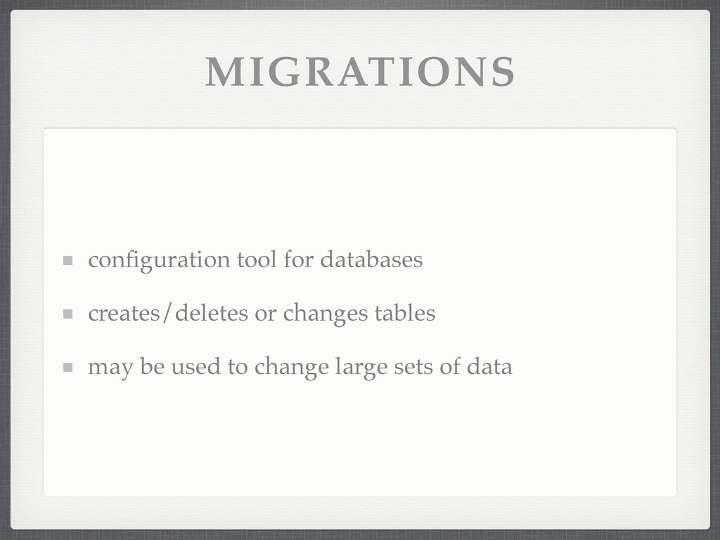 MIGRATIONS configuration tool for databases crea...