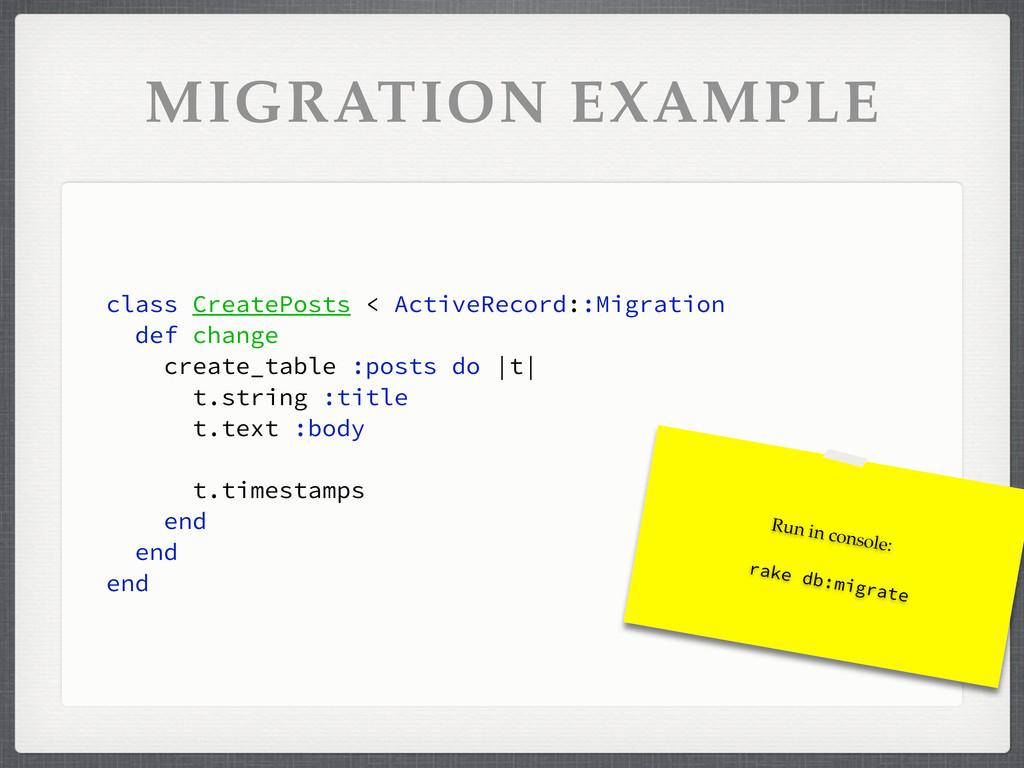 MIGRATION EXAMPLE class CreatePosts < ActiveRec...