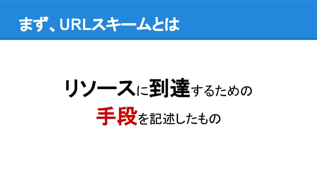 まず、URLスキームとは リソースに到達するための 手段を記述したもの