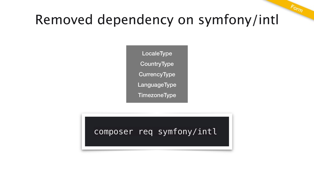 Removed dependency on symfony/intl composer req...