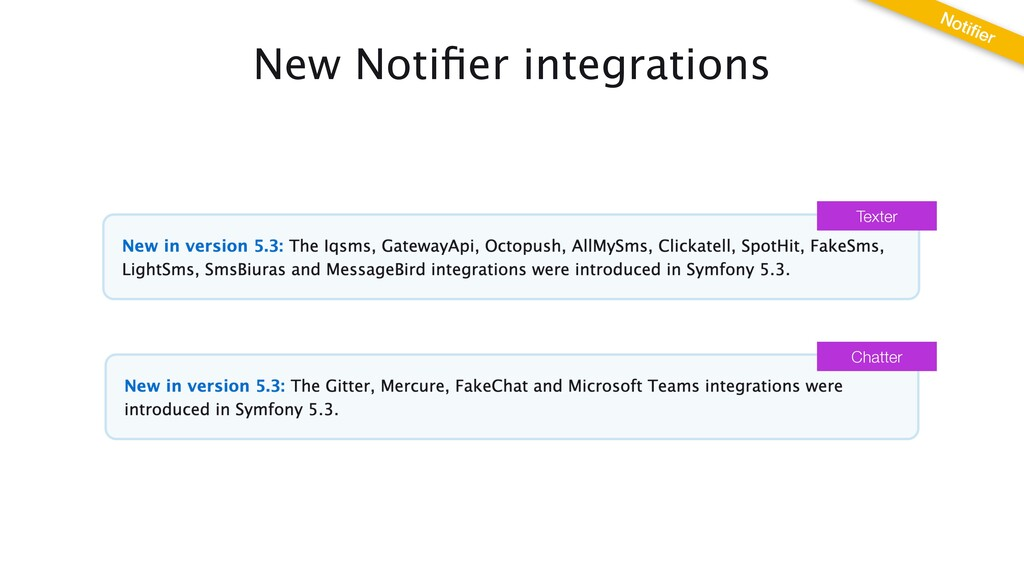 New Noti fi er integrations Noti fi er Texter C...