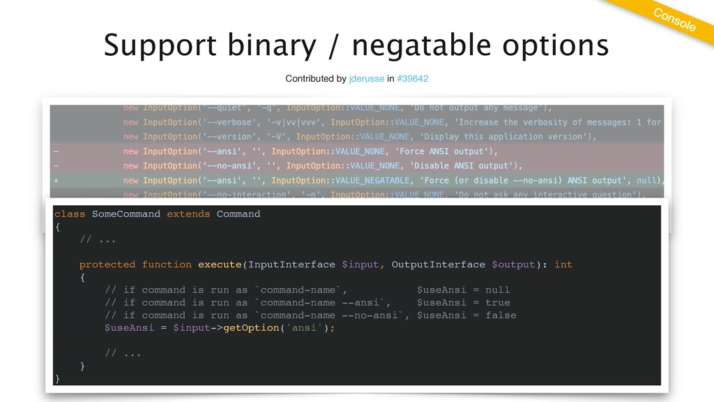 Support binary / negatable options Contributed ...