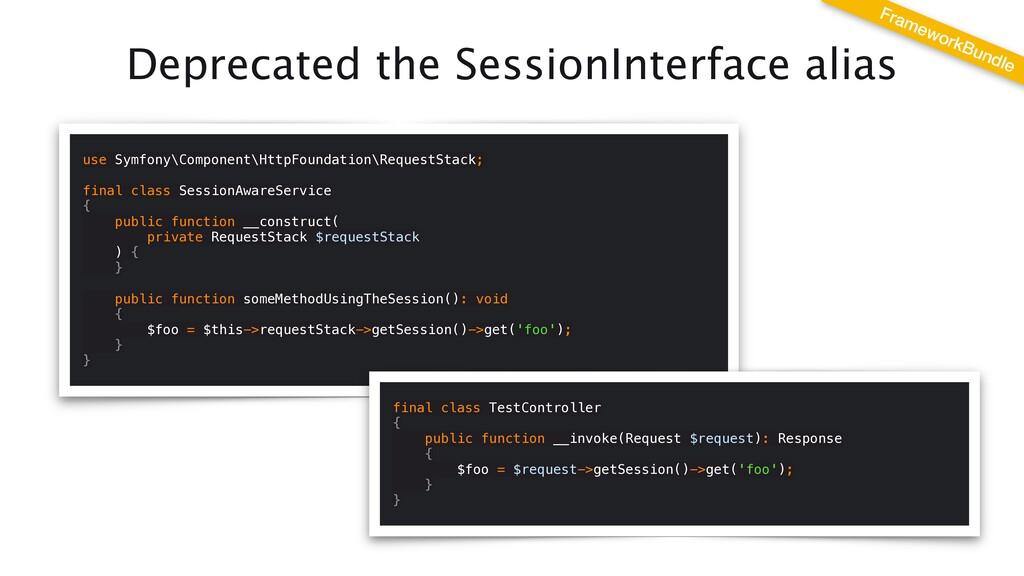 Deprecated the SessionInterface alias use Symfo...
