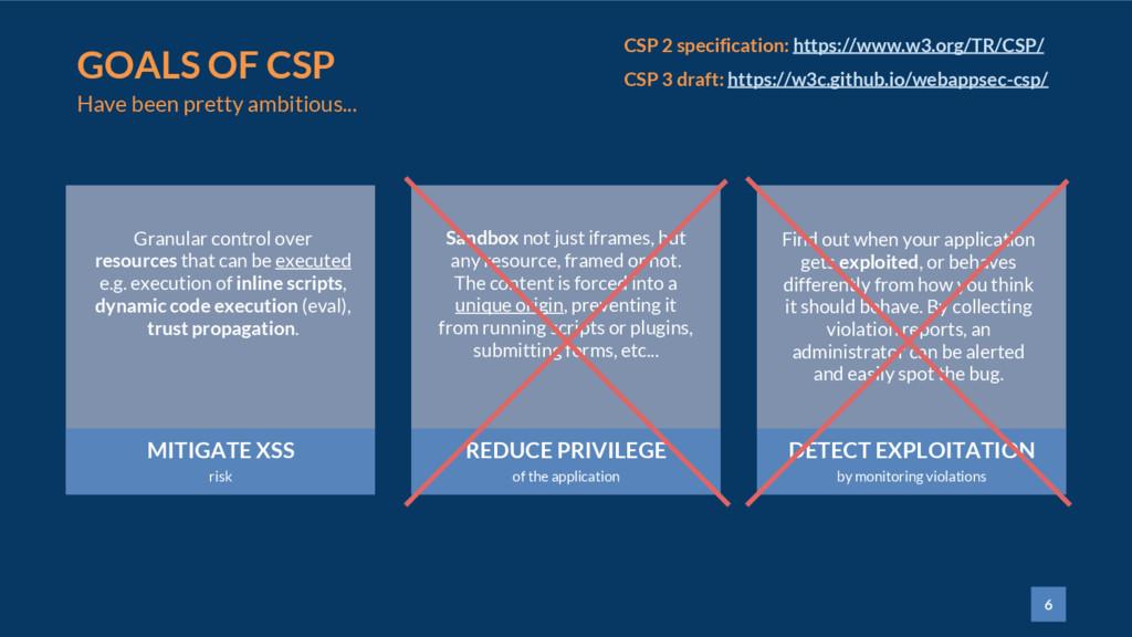 6 GOALS OF CSP MITIGATE XSS risk REDUCE PRIVILE...