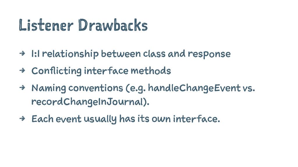 Listener Drawbacks 4 1:1 relationship between c...
